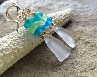 White Seaglass and Blue-Green Czech Glass Earrings - The Cortez Collection