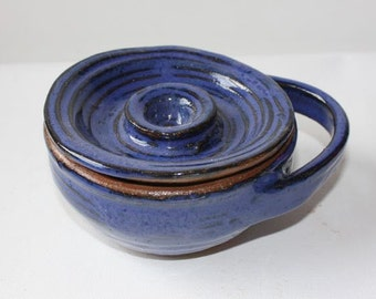 Blue Shaving Mug with Lid in Handthrown Stoneware Vermont Made Valentine for a man