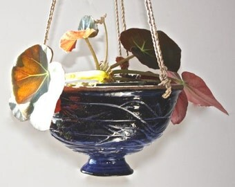 Blue Hanging Planter Glossy Stoneware  Glaze over Carved Surface