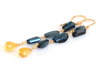 London Blue Topaz Earrings, Citrine Earrings, 18K London Blue Topaz Earrings, 18K Citrine Earrings, 14K London Blue Topaz Earrings