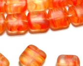 Vintage 1960's BEADS 12mm Czech Glass Matte Square Bead (14) 3 Tone Orange - Yellow - Pale Red HAND Crafted