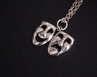 silver tone theatre mask necklace