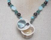Abalone Shell / Carved Shed Elk Antler Pill Box Green Hemp Necklace w/ Amazonite / Aventurine / Onyx Semiprecious Stone / Gemstone Beads