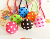 Button Ponytail Holders, Small Blue Green Pink Brown Orange Polka Dots Ponytail Holder For Girls, Small Polka Dots Hair Tie