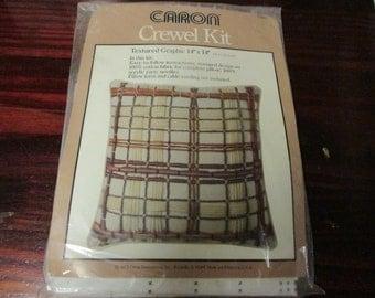 Vintage Crewel Pillow Kit Textured Graphic Caron 6383 Crewel Kit