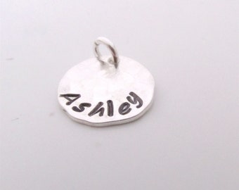 Small HAMMERED hand stamped charm