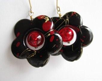 Red Earrings, Red and Black Earrings, Ruby Red Crackle Glass Earrings, Flower Earrings