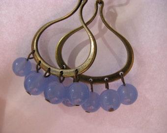 Chandelier Earrings, Sky Blue Chandelier Earrings, Chalcedony Blue and Antique Bronze Earrings, Blue Earrings