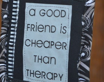 Black White Doorknob Hanging Art Quilt - Friend Therapy