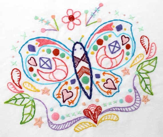 butterfly summer doodle hand embroidery pdf pattern from