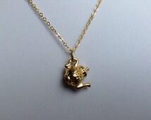 Tea pot Necklace, tiny gold charm necklace, tea pot necklace