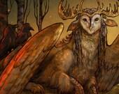 Tytogryph - Barn Owl Antlers Ears Gryphon Ravens Fire Feathers Celtic Goddess God Spiral Shaman Sunset