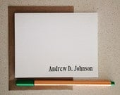 Personalized letterpress stationery: Andrew