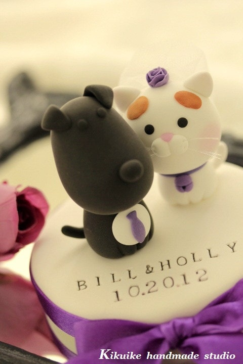 cat and dog Wedding Cake Topper---k843 [E10261624442411701M ...