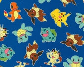 Pokemon Toss 100% Cotton Fabric By The Yard