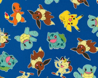 "Pokemon Toss 100% Cotton Fabric Remnant 24"" by 42"""