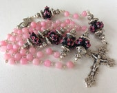 Handmade Pink Agate and Lamp Work Carholic Rosary, Pink Rosary, Custom Rosaries, Religious Jewelry, Handmade Jewelry