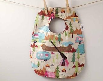 Baby Shower Gift - Camping and Canoeing Baby Bib - Unisex Baby Gift - Gender Neutral Bib - Paddling Babyshower - Oversize Toddler Bib