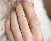 stacking ring. gold filled, solid 14k gold or silver. knuckle ring, midi ring. tiny ball droplets open cuff. delicate dainty. stacking ring.