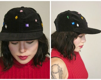 90s Velvet Gemstone Hat / Black Soft Grunge Billed Baseball Cap With Bling