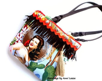 Rockabilly handbag, western bag, pinup cowgirl bag, tablet bag, boho bag, western wear, rockabilly wedding, western wedding, Cinco de Mayo