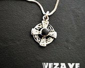 Reserved.Boho vintage 70s sterling silver 925 necklace with a celtic cross pendant.