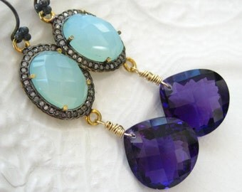 Pave Diamond Chalcedony and Amethyst Earrings