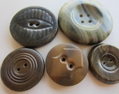 Vintage Buttons - Lot of 5 Mid Century Modern, metal back, large celluloid, novelty, 50's Retro, (mar 223)