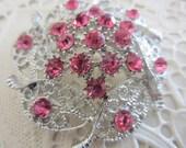 New Vintage style brooch pink rhinestones filigree floral design, silver finish metal (brooch 4)