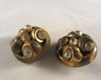 Vintage Button -  lot of 2 beautiful, unique 1950's matching 3/4, rhinestone embellished antique  bronze metalized acrylic, (rhine 9)