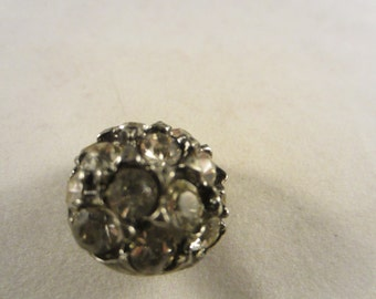 Vintage Button -  lot of 1 beautiful, 3/4 inch unique design, rhinestone embellished antique silver metal, (70)