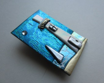 Lighthouse with Sailboat Pin Brooch