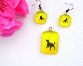 Fused glass pendant and earring set transaparent yellow with dog decals