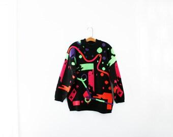 vintage 80s Squiggles & Dots Paint Splash Geoemetric Ladies Sweater M/L
