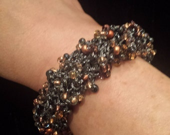 Bracelet Bangle Black Copper Handknitted Gift for Her by hipknitta Gift for Mom