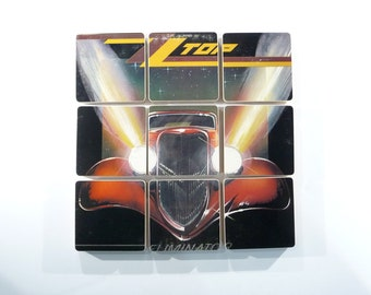 ZZ TOP recycled Eliminator album jacket coasters with record bowl