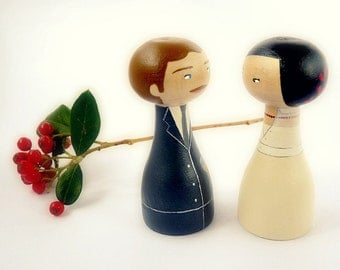Wedding Custom Cake Toppers - Personalized Wooden art doll hand painted FREE SHIPPING