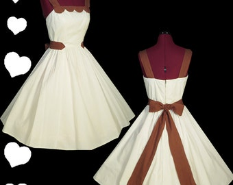 Dress Vintage 50s White Brown BOW Full Skirt ROCKABILLY Party Dress XS S Swing Pinup
