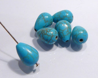 Blue Magnesite Turquoise Smooth Briolette Teardrop Gemstone Beads....12x8mm.....6 Beads