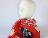 Vintage Red, White and Blue silk scarf