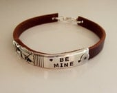Silverware End and Leather Strap Message Bracelet - Silverware Jewelry - Hand Stamped Jewelry