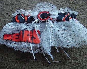 Chicago Bears  Football Wedding Bridal Lace trim Garter Regular/Plus Size