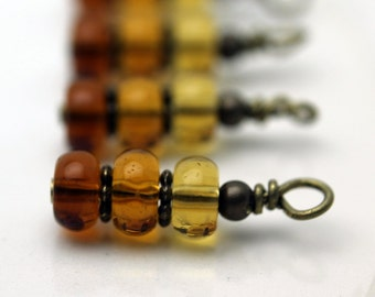 Brown to Golden Bead Shaded Bead Dangle Charm Set