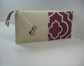 Personalized Zipper Pouch, Monogram Clutch, Personalized Bridesmaid Clutch, Made To Order - Plum