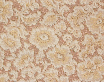 1920's Antique Vintage Wallpaper White and Yellow Flowers on Brown--Made in England