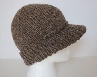 Brimmed Ski Hat - Winter Hat - Visor Cap - Skull Beanie - Hand Knit
