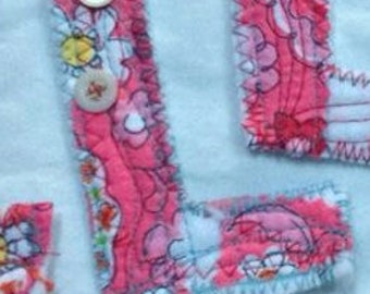 fabric L letter sewing project supplies quilted shabby patch alphabet word, name patch