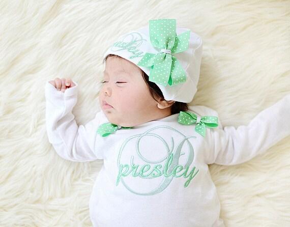 Newborn Baby Girl Gown Sleeper Mitten Cuffs Hat Mint Green Dot