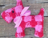 Upcycled  Vintage Chenille Scotty Dog  Pink  and Red Check  Peppa