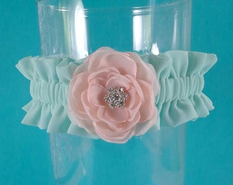 Wedding Garter, Mint and Blush Wedding Garter, F161 - Bridal garter Accessories